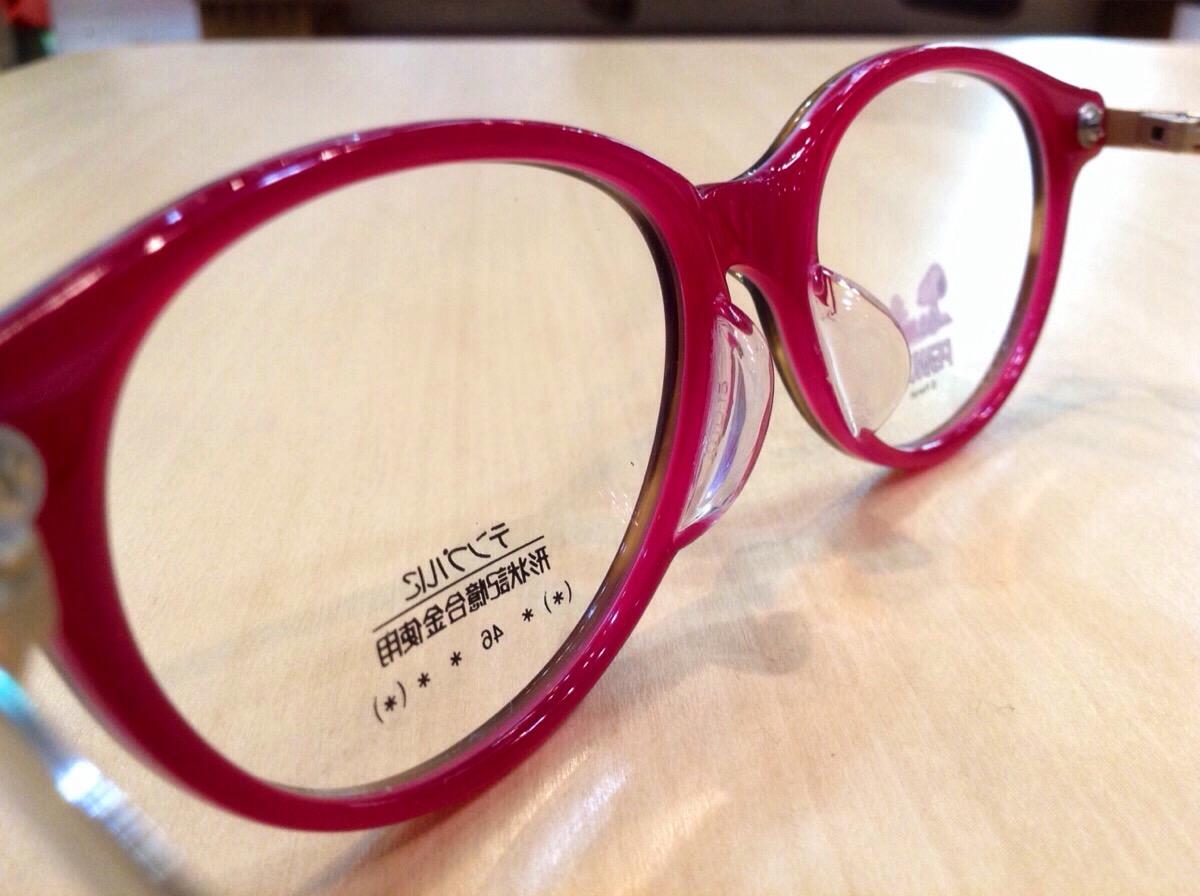 コーキこどもめがねスヌーピー 品番:P-073 カラー:ブラウン/ピンク レンズサイズ:48ミリ
